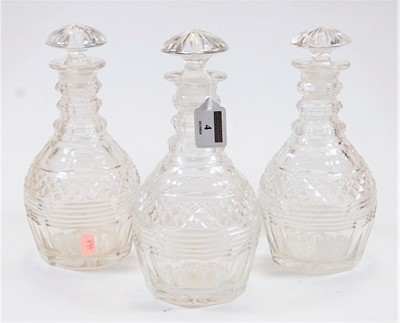 Lot 4-A set of three circa 1830 cut glass triple...