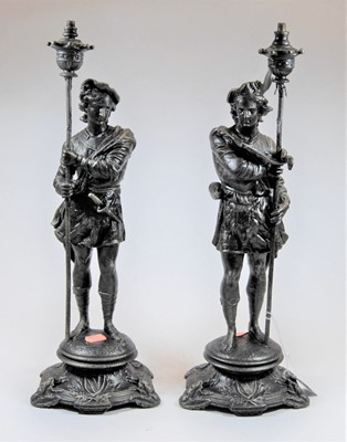 Lot 6-A pair of reproduction bronzed metal figures,...