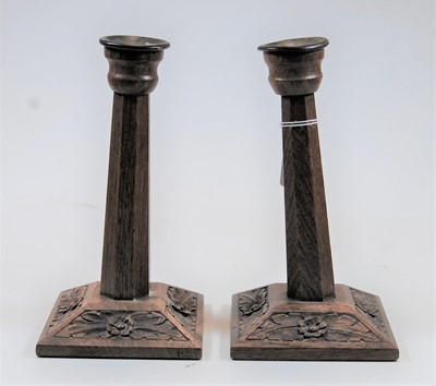 Lot 7-A pair of Arts & Crafts flaring octagonal oak...