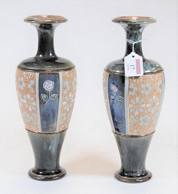 Lot 17-A pair of Royal Doulton Lambeth stoneware...