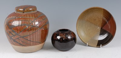 Lot 31-A large studio pottery ginger jar and cover,...