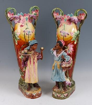 Lot 17 - A pair of large Art Nouveau majolica glazed...