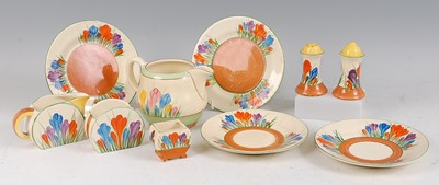 Lot 7-A collection of 1930s Clarice Cliff pottery...