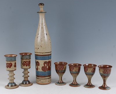 Lot 46-A New Zealand studio pottery salt-glazed wine...