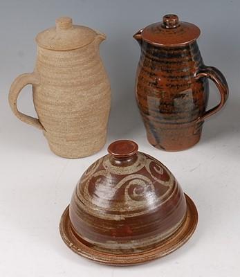 Lot 48-A studio pottery Tenmoku glaze hot water jug...