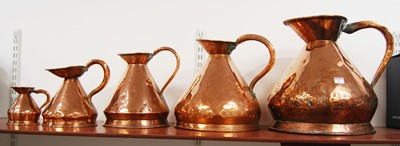 Lot 15-A set of five 19th century graduated copper...
