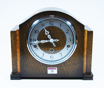 Lot 20-A 1930s oak cased mantel clock, the chapter...