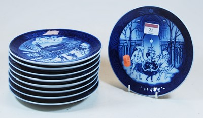 Lot 21-A collection of nine Royal Copenhagen blue and...