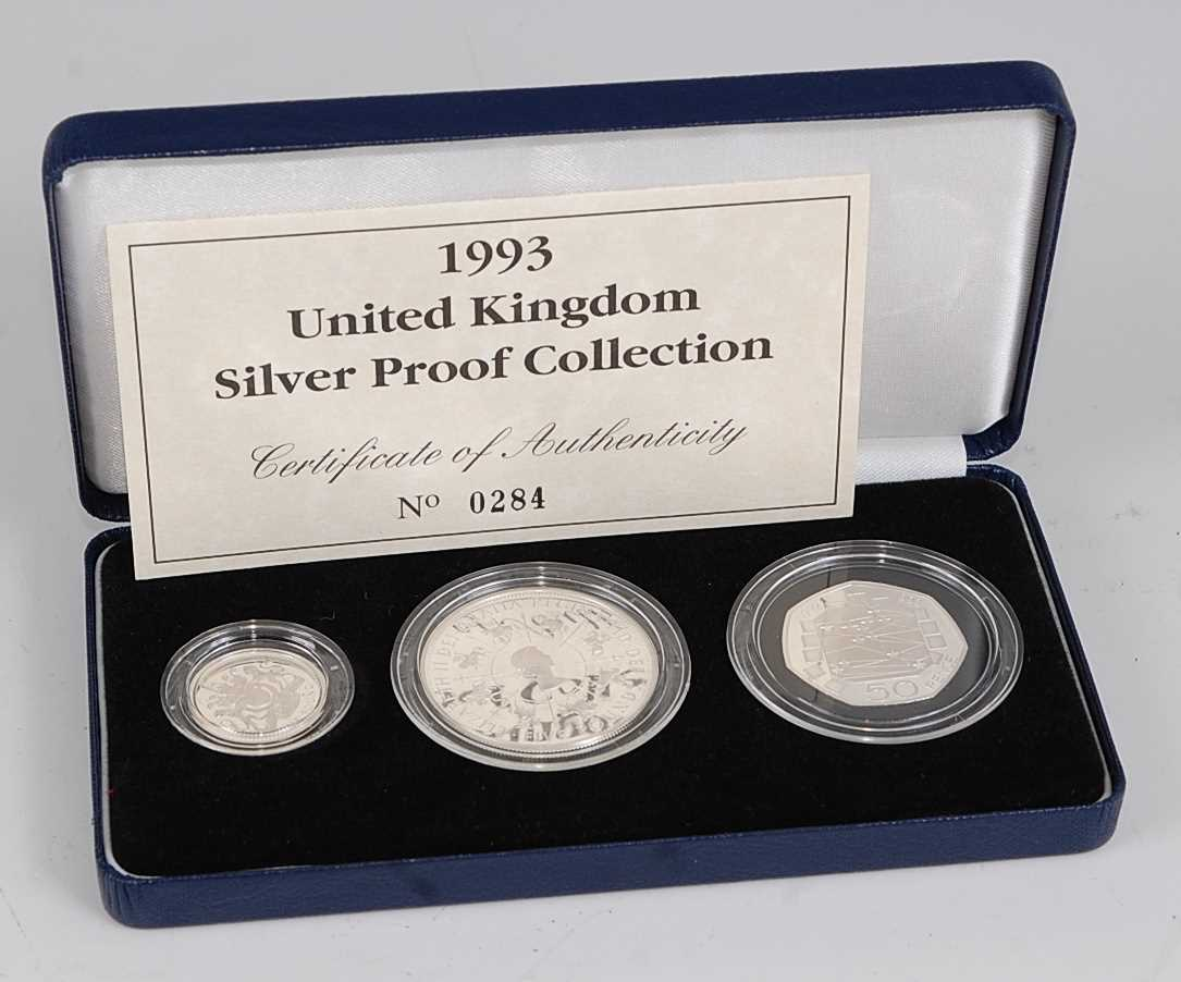 Lot 2021-Great Britain, 1993 UK Silver Proof Collection,...