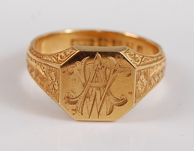 Lot 2508 - An 18ct yellow gold octagonal signet ring,...