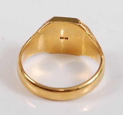 Lot 2508-An 18ct yellow gold octagonal signet ring,...
