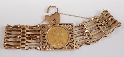 Lot 2509 - A 9ct yellow gold seven bar gatelink bracelet,...