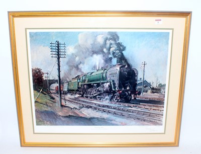 Lot 8-'Evening Star' print by Cuneo last steam...