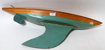 Lot 13-Bowman wooden yacht hull, polished deck,...