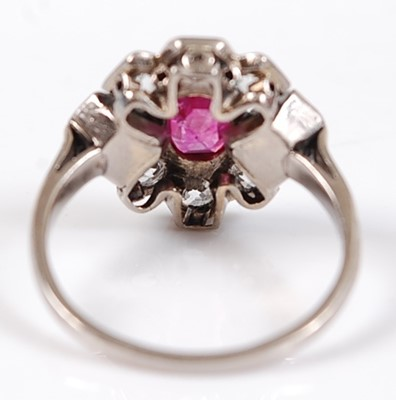 Lot 2535 - A white metal, ruby and diamond Art Deco style...