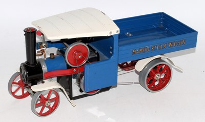 Lot 17-Mamod steam wagon, blue/white with red spoked...