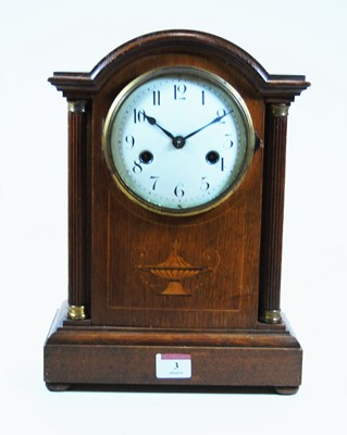 Lot 3-An early 20th century oak cased mantel clock,...