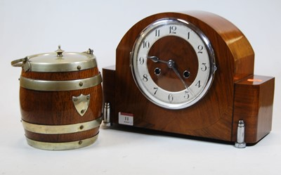 Lot 11-A 1930s walnut cased mantel clock the silvered...