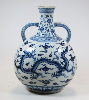 Lot 19-A Chinese export blue & white vase, with twin...