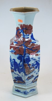 Lot 23-A Chinese export vase, of hexagonal baluster...