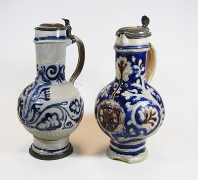 Lot 1-A German Westerwald stoneware jug, with pewter...