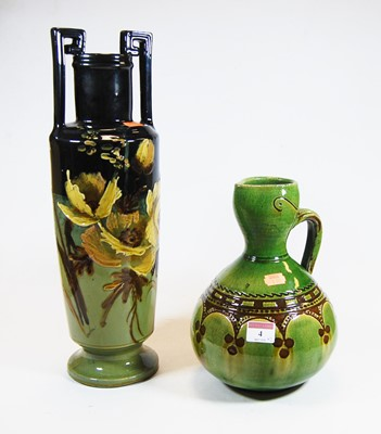 Lot 4-A 20th century green glazed pottery urn...