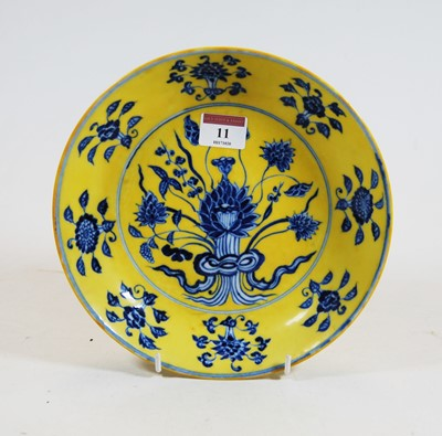 Lot 11-A Chinese export yellow and blue glazed...