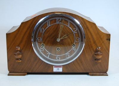 Lot 18-A 1930s walnut cased mantel clock, the chapter...