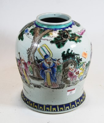 Lot 23-A Chinese export Famille Verte jar of baluster...