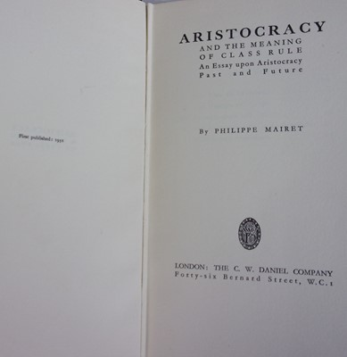 Lot 2023-MAIRET, Philippe. Aristocracy and the Meaning...