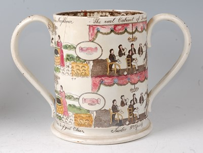 Lot 18 - A 19th century Staffordshire loving cup,...
