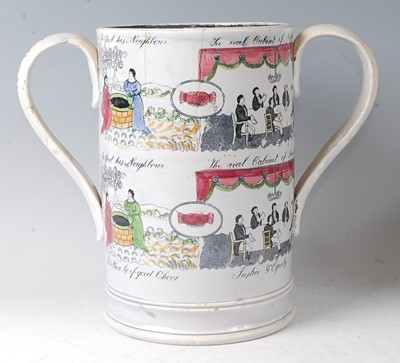 Lot 15 - A 19th century Staffordshire loving cup,...