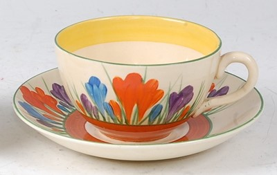 Lot 2 - A Clarice Cliff Crocus pattern pottery teacup...