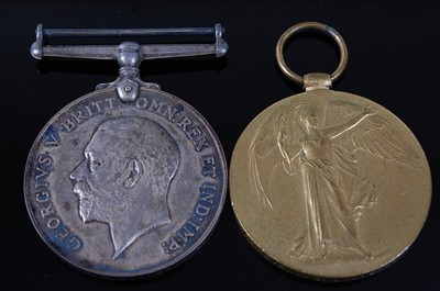 Lot 9-A WW I British War and Victory pair, naming...