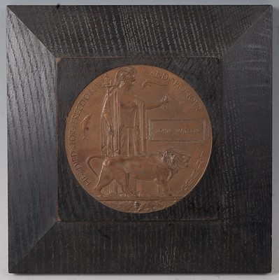 Lot 15-A WW I bronze memorial plaque, naming John...