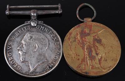 Lot 16-A WW I British War and Victory pair, naming...