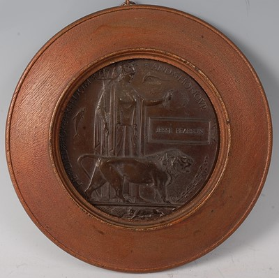 Lot 22-A WW I bronze memorial plaque, naming Jesse...