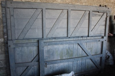 Lot 4-Set of Wooden Barn Doors (two 9ft x 6ft) and...