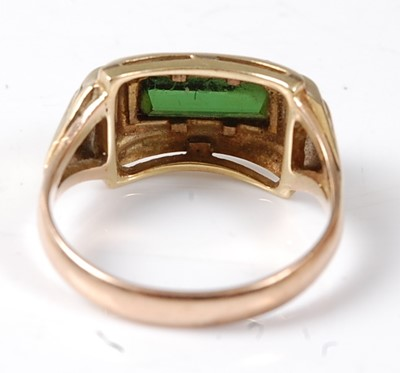Lot 2502 - A yellow metal tourmaline dress ring,...