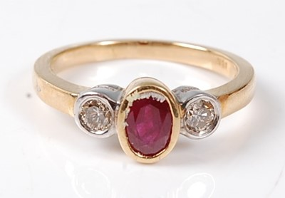 Lot 2503 - A yellow and white metal, ruby and diamond...