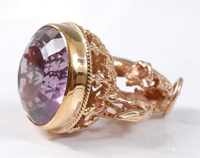 Lot 2516 - A 9ct yellow gold amethyst openwork fob...