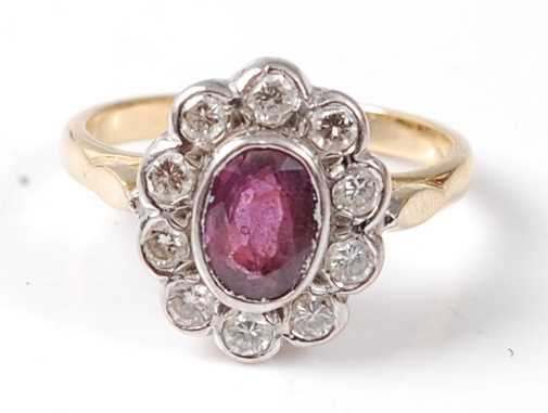 Lot 2501 - A yellow and white metal, ruby and diamond...