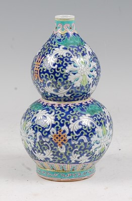 Lot 9 - A Chinese export vase of double gourd form,...