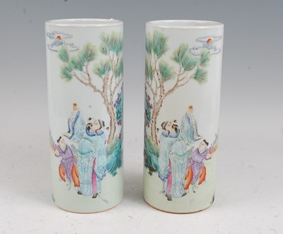 Lot 3 - A pair of Chinese vases each of cylindrical...