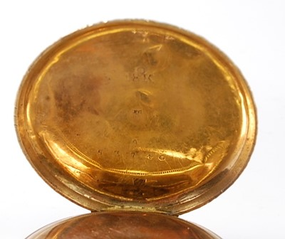 Lot 2519 - An 18ct gold open face keywind pocket watch,...