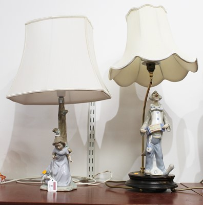 Lot 11 - A Nao Spanish porcelain lamp base in the form...