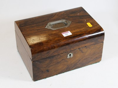 Lot 24 - A Victorian walnut dome topped box, with blue...