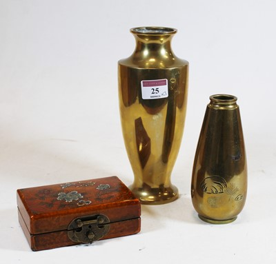 Lot 25 - A Chinese style brass vase, of shouldered...