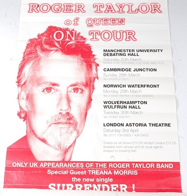 Lot 540 - A Roger Taylor of Queen on Tour poster, 74 x...