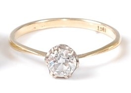 Lot 2529 - A yellow and white metal diamond single stone...